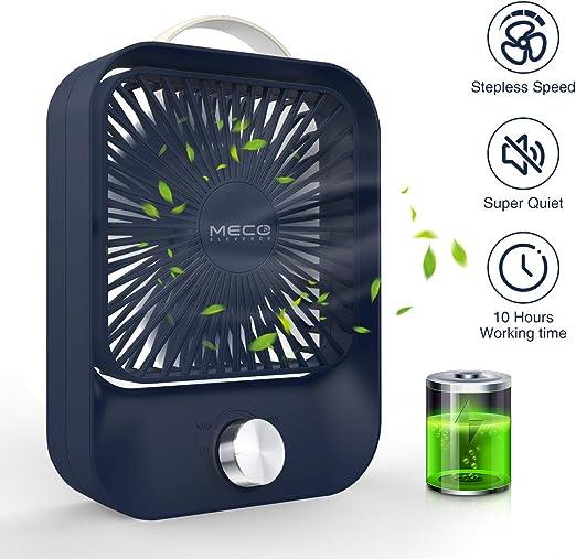 MECO Ventilador de Mesa Silencioso Ventilador USB/Recargable ...