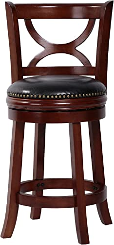Amoyland Menis Counter Stool with Back, 24-Inch Height Upholstered-Nailhead Seat Swivel Barstool, Perfect for Pub and Kitchen Island Bar Stools – Cherry Black Cherry
