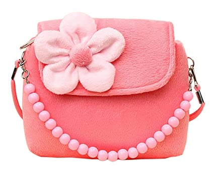 7157fc2d0db3 Image Unavailable. Image not available for. Color  Hosaire Girl Bag Plush  Flower Mini Handbag Shoulder Bag Messenger Bag for Toddlers Preschoolers  Pink