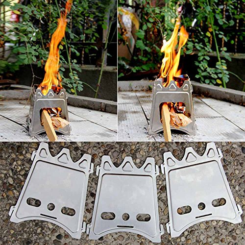 Fbest Portable Wood Folding Stove Camping Stove, Compact Outdoor Camping Stove Picnic Hiking Cooking Hardware, Lightweight Stainless Steel Alcohol Stove for Outdoor Cooking Backpacking Stove