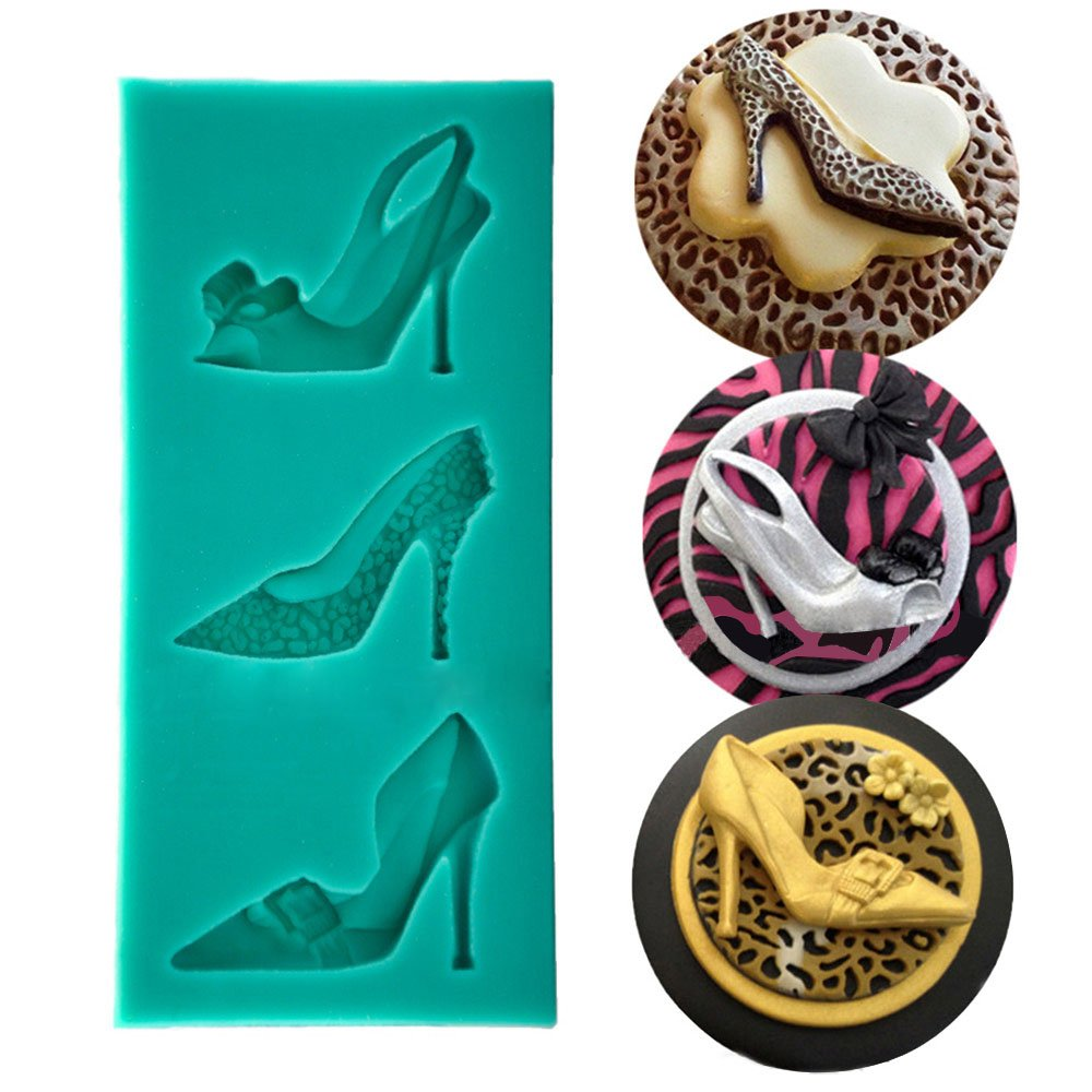 Demarkt 3D Christmas Stiletto High Heeled Shoes Silicone Cake Mold for Cake Decorating Cake Cupcake Toppers Icing Sugar Craft Tool