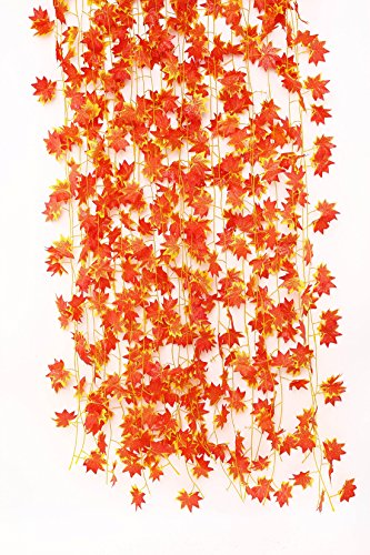 Fall Swag - Charmly 12Pcs Maple Leaf Vines Autumn Artificial Silk Garland Hanging Plants For Home Wedding Wall Party Each 7.7 Ft Long