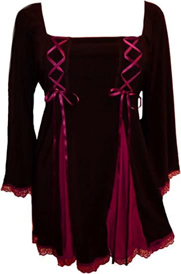 Plus Size Corsetta Gothic Renaissance Top in Black Burgundy 1X 2X 3X 4X 5X
