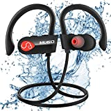 Wireless Headphones, IPX7 Waterproof Bluetooth Earbuds Richer Bass HiFi Stereo Noise Cancelling in Ear Sport Headphones with Mic, 10 Hours Playback Wireless Running Earphones for Gym and Workout