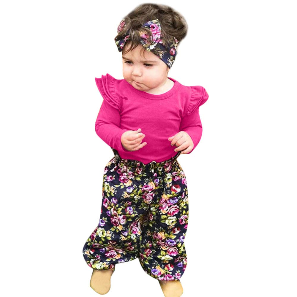 NUWFOR Infant Baby Girls Long Sleeve Solid Romper+Floral Print Pants Headband Outfits (Hot Pink,18-24Months
