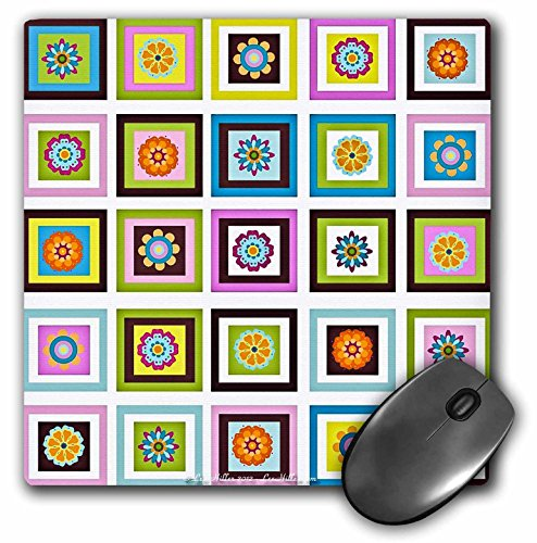 3dRose Lee Hiller Designs 60s Retro Print - Retro 60s Flower Power Squares Pink Blue Lime Orange Yellow - MousePad (mp_44436_1) ()