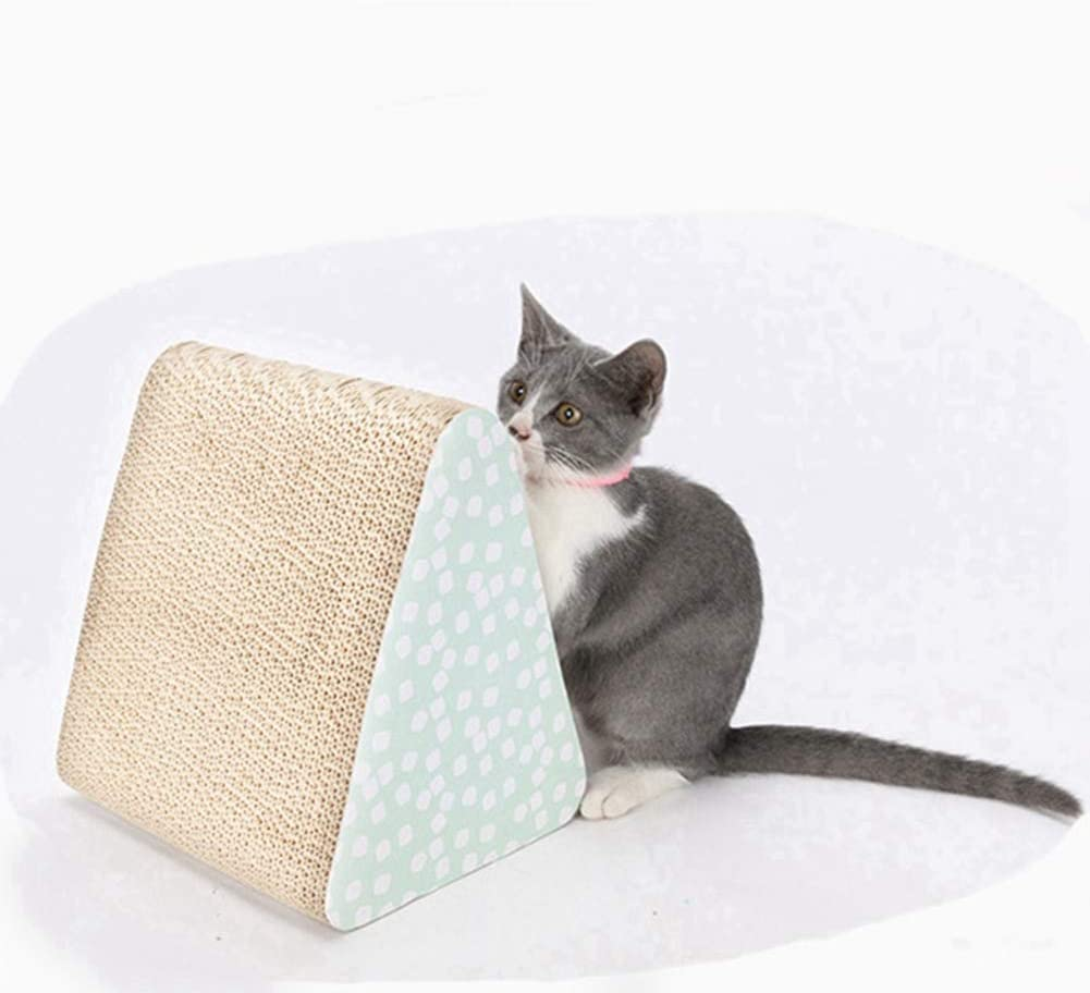 Ingruiya Corrugated Paper Cat Bed Mats Scratch Board Triangle Cat Claw Grinding Post Indoor Playing Toy