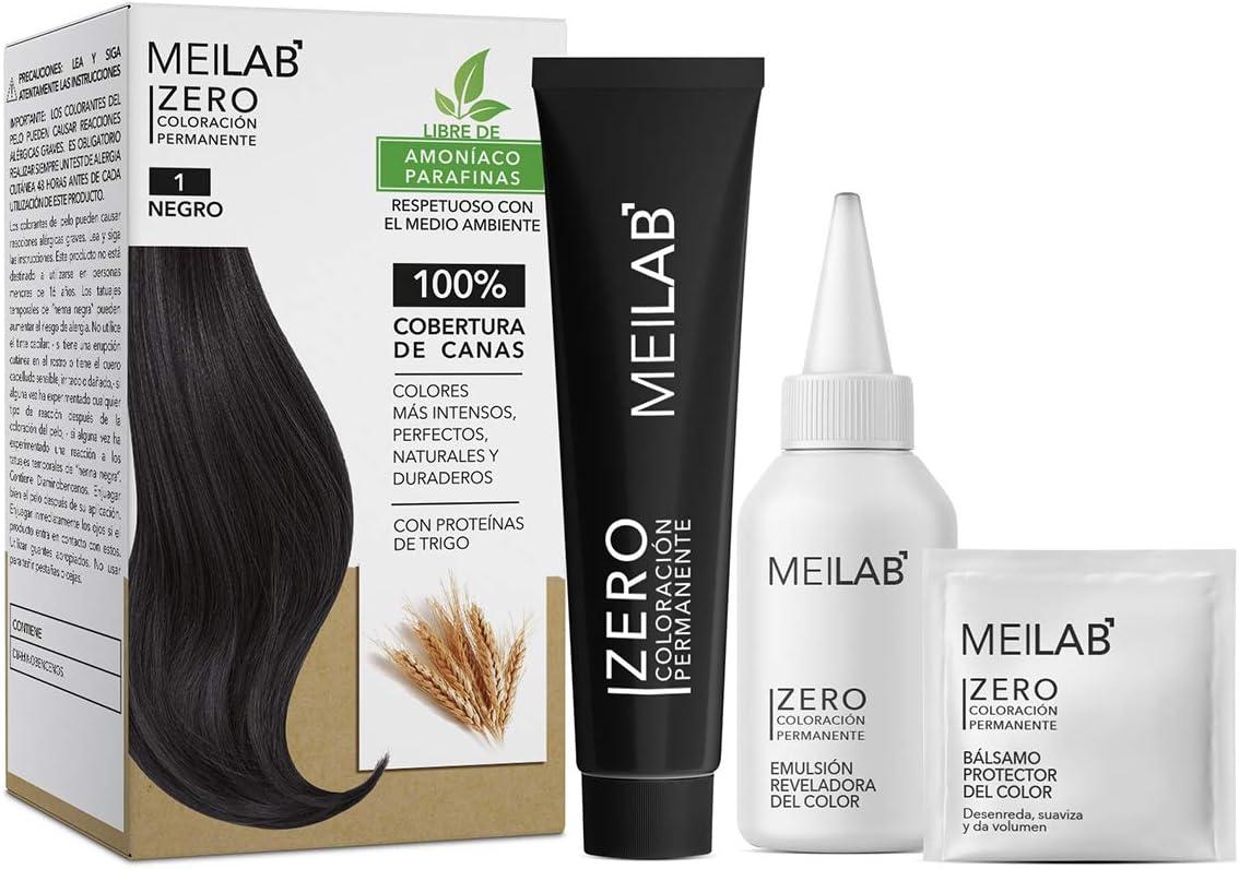 MEILAB - Tinte permanente sin amoniaco - Pack de 3 unidades - Color Negro #1