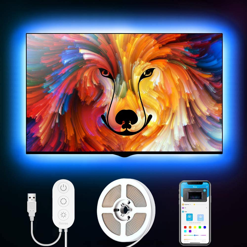 LED TV Backlights Govee WiFi TV Backlights Kit with Camera TV Led Strip Lights Compatible with Alexa TV Ambient Bias Lighting for 55-80 TV Calibrate on APP APP Control Music Led Strip Lights