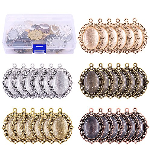 Swpeet 60 Pcs Pendant Trays Kit, Including 30 Pieces 5 Colors Pendant Trays Oval Bezels with 30 Pieces Glass Dome Tiles for Crafting DIY Jewelry Making ()