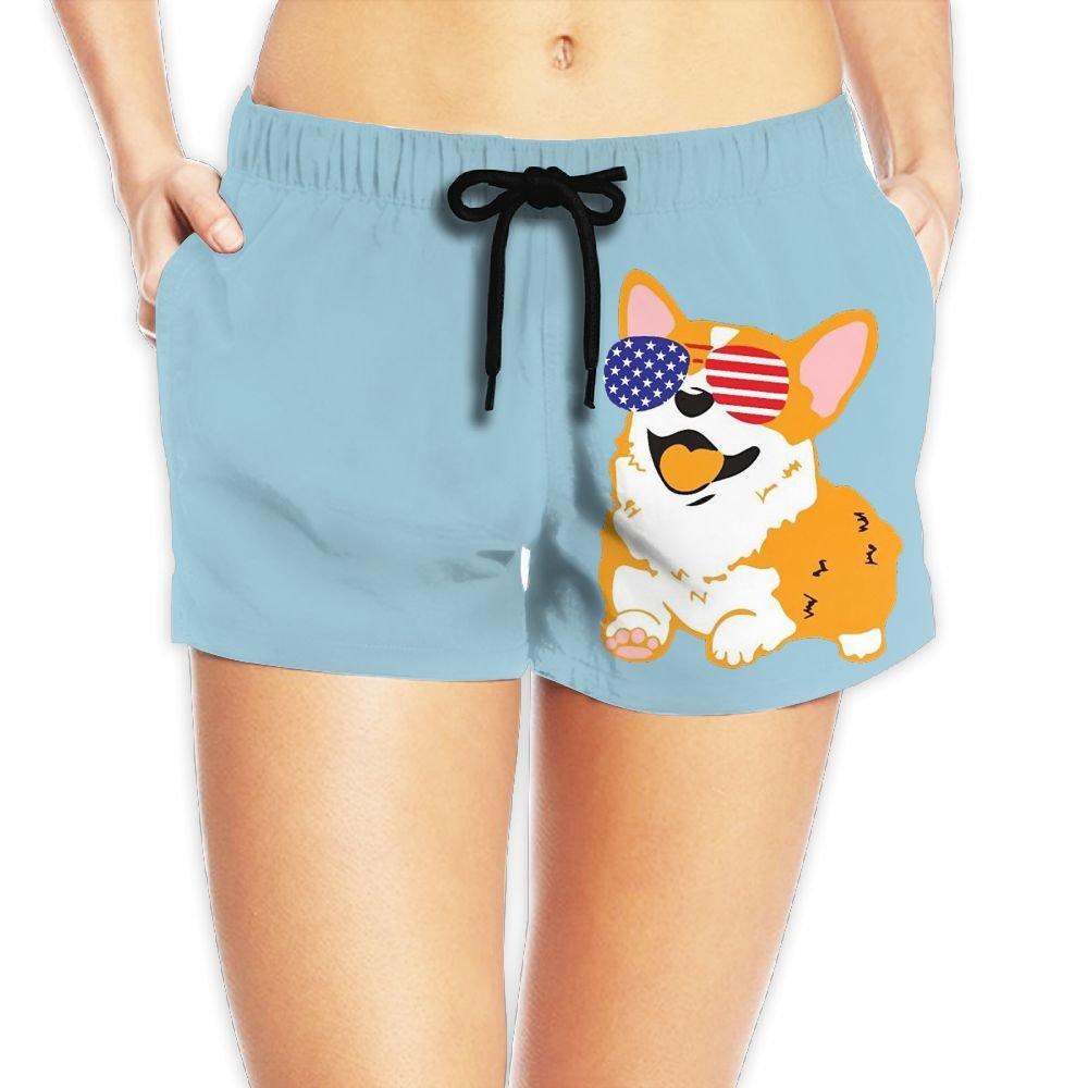 Women's Corgi American Flag Patriotic Sunglasses Summer Quick Dry Swim Trunk Vacation Breathable Boardshorts with Pockets