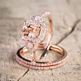 Zhiwen Sparkling Women Fashion Gorgeous 18K Rose Gold Filled Morganite Ring Engagement Bridal Women Jewelry Set Size 6-10 (Si