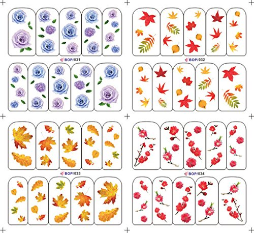 (KADS 4 Leaves and Flowers Nail Art Water Slide Tattoo Decals Stickers for Nails- 1 Pack 4 design)
