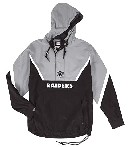 2e7798d1fb0 Image Unavailable. Image not available for. Color  Mitchell   Ness Oakland  Raiders NFL Half Zip Anorak Throwback Jacket Men s