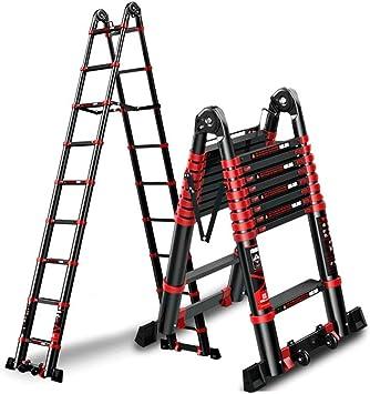 Escalera, escalera de extensión, aleación de aluminio, hogar, multifunción, elevación plegable, escaleras de ingeniería (Size : 2.9m+2.9m=straight 5.7m): Amazon.es: Bricolaje y herramientas