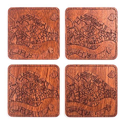 Venice Map Coaster by O3 Design Studio, Set of