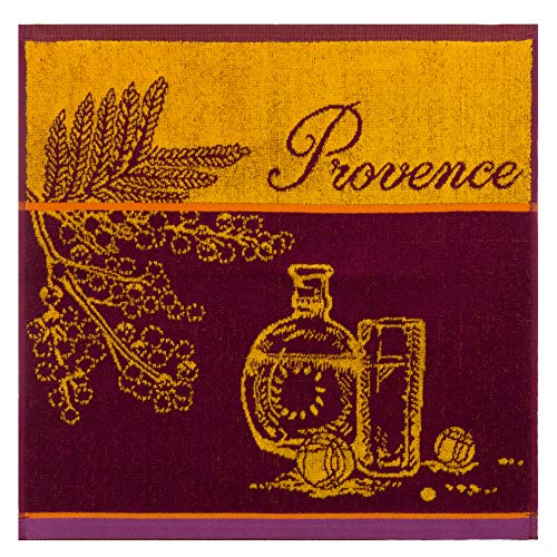 COUCKE French Cotton Square Terry Towel, Marche de Provence, 20-Inches by 20-Inches, -