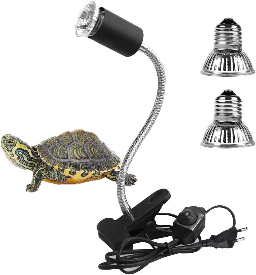 LEDGLE Lámpara para Tortuga, Lámpara de Calor de Reptil, UVA UVB, Dos Basking Iluminación de Calor de 25W y 50W, Pinza Giratoria de 360 Grados, Lámpara para Tortuga, Lagartos, Serpientes, Camaleones