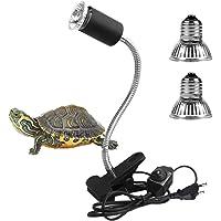 LEDGLE Lámpara para Tortuga, Lámpara de Calor de Reptil, UVA UVB, Dos Basking Iluminación de Calor de 25W y 50W, Pinza…