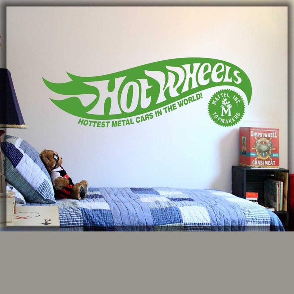 D/écor /à la Maison Art Wall Decor Hot et Wheel Original Applique Logo Chambre Chambre D/écor Sticker Rouge 57x19cm