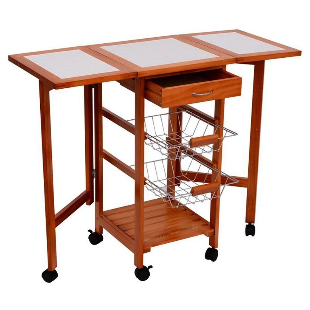 Eight24hours Rolling Wood Top Drop-Leaf Kitchen Trolley Cart Storage Drawer Stand w/ Baskets + FREE E-Book