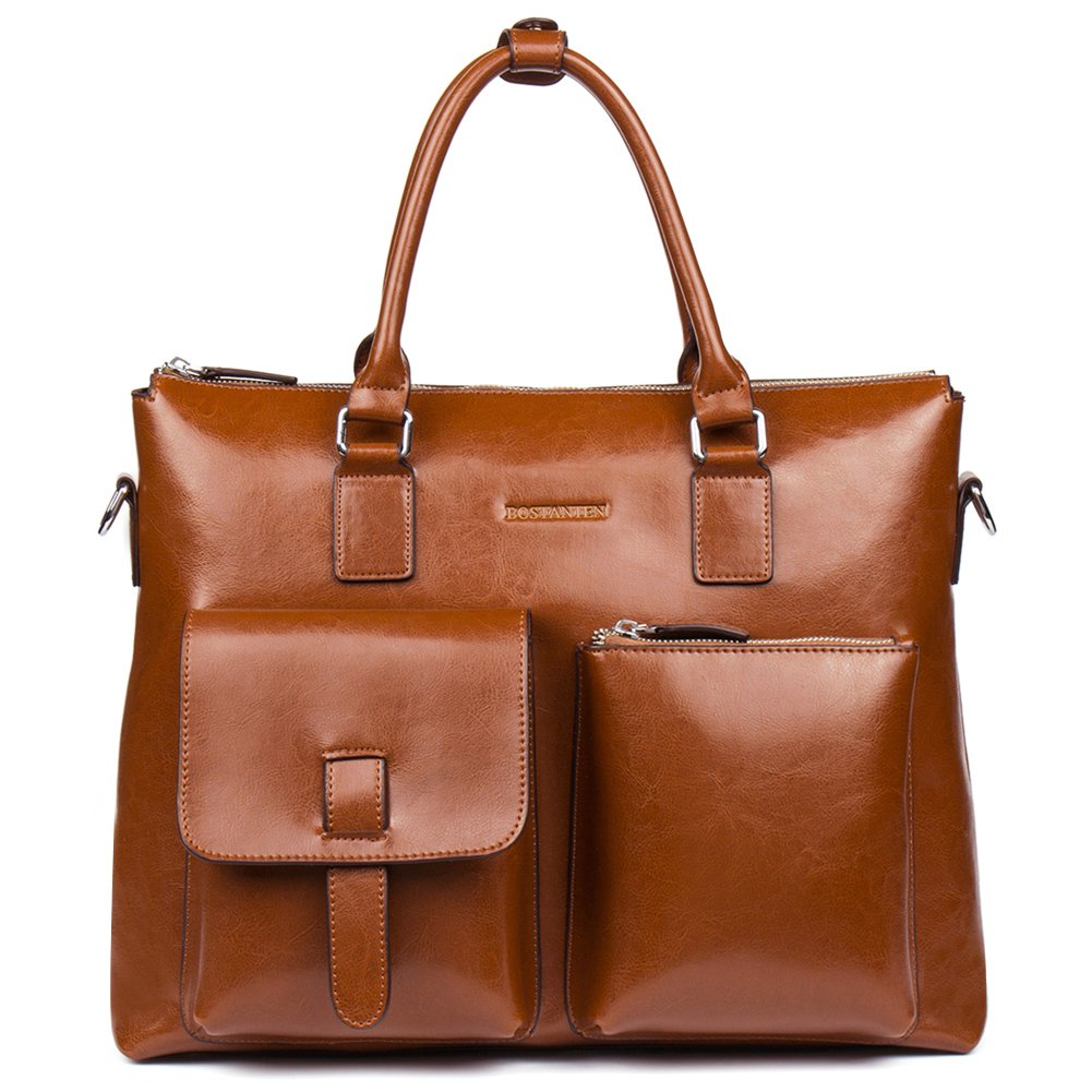 BOSTANTEN Leather Briefcase Laptop Business Vintage Slim Messenger Bags for Men & Women Brown