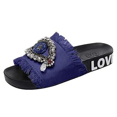 04e5f8a7418 AOJIAN Shoes Womens Sandals Summer Crystal Eye Beach Flip Flop Slide Slipper  Clog Mule Dark Blue