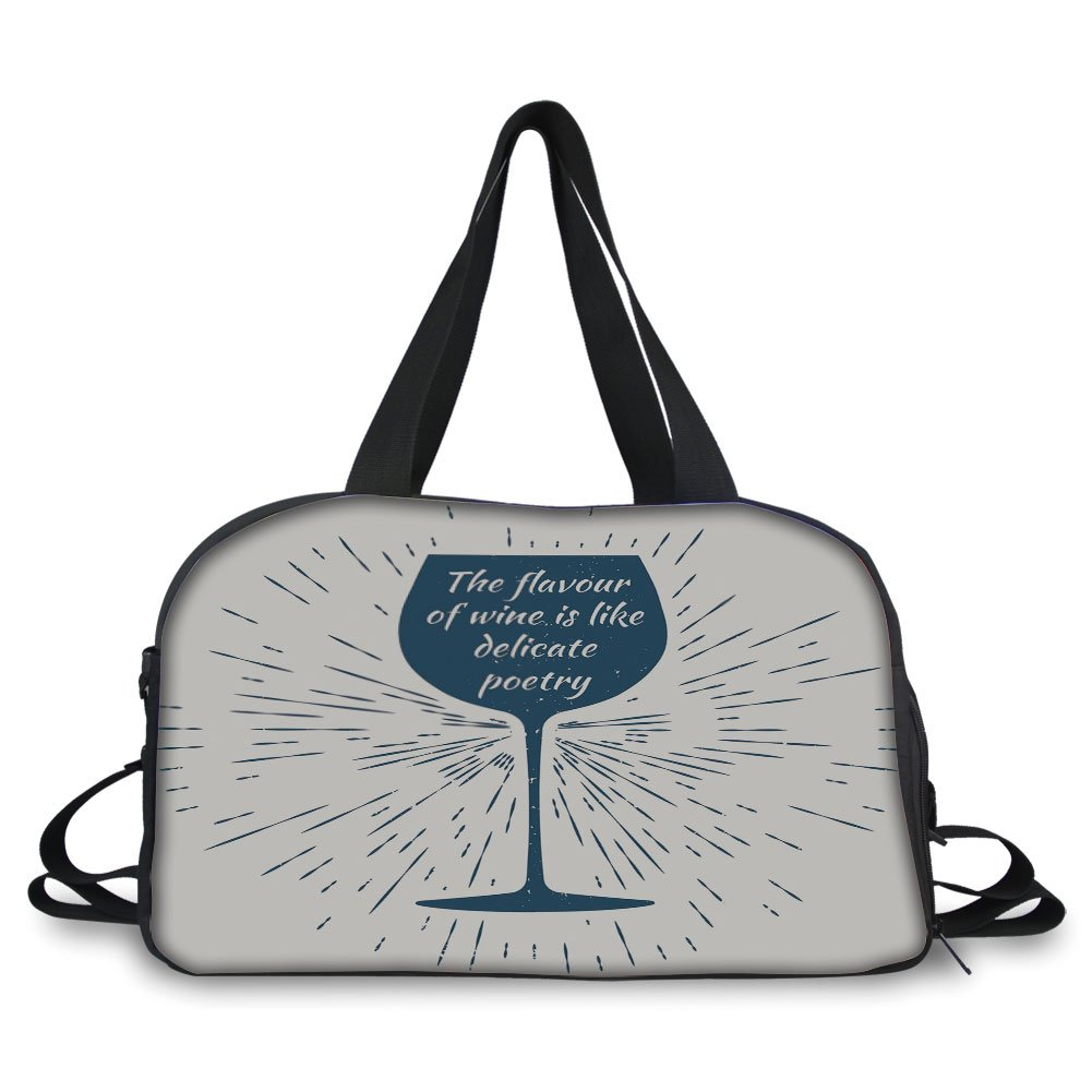 Travel handbag,Wine,Wine Glass and Vintage Sun Burst Frame The Flavor is Like Delicate Poetry Quote Decorative,Night Blue White ,Personalized