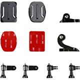 Victure Helmet Front + Side Mount Kit, J-Hook Buckle and Buckle Clip Basic Mount for Action Camera, Sports Camera, Waterproof Camera, Helmet Camera