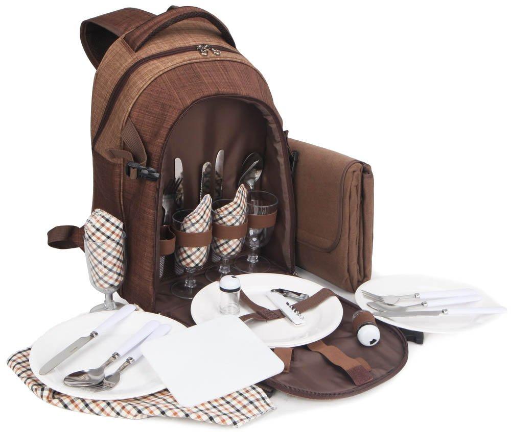 *Brubaker Picknickrucksack für 4 Personen Braun 28,5 × 19 × 42,5 cm – mit Kühlfach und wasserfester Picknickdecke*