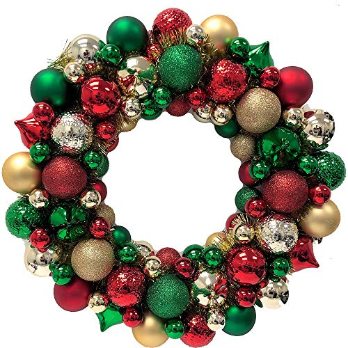 House Wreath Ornament (Country Silk Christmas Ornament Wreath, Holiday Decorations, Plastic, 19