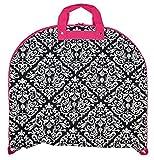 garment bag black and pink - Ever Moda Pink Black Damask 40-inch Hanging Garment Bag