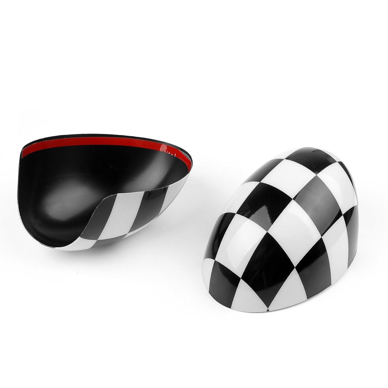 Artudatech Coperture per specchietto retrovisore per Mini Cooper R55 R56 R57 R58 R60 solo con specchio pieghevole 2 pezzi a scacchi