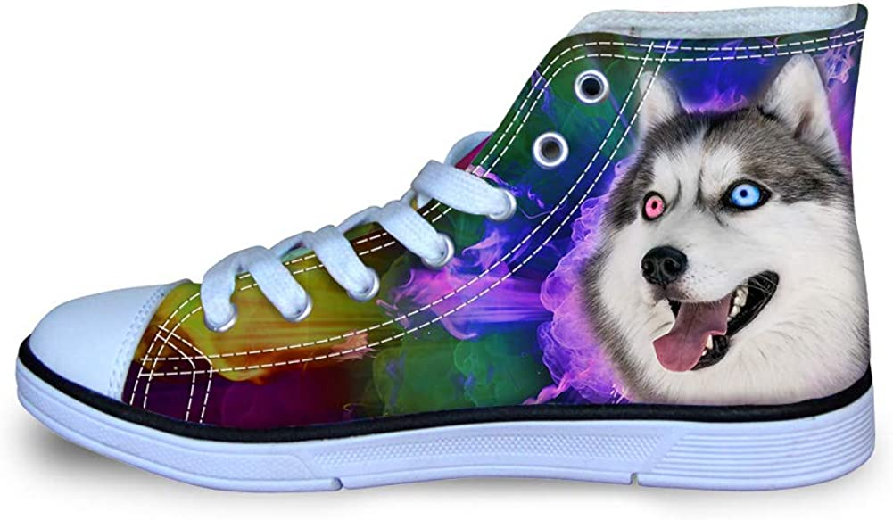 Cool Personalized Dog Wolf Printed Boys Canvas Breathable Casual Sneakers Little Kids