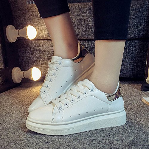 NGRDX&G Zapatos Casuales De Encaje Para Mujer Zapatos De Pizarra Confortables Y Transpirables Zapatos Deportivos Planos Gold