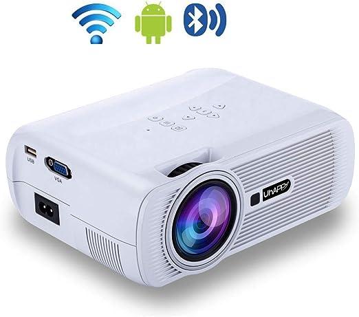 Proyector inalámbrico Bluetooth,proyector LED de Video casero 1080P Inteligente, proyector WiFi con SRT,SMI,Sub,SSA,IDX+USB, para iPhone iPad Mac TV Entretenimiento de Juegos de películas,White: Amazon.es: Hogar