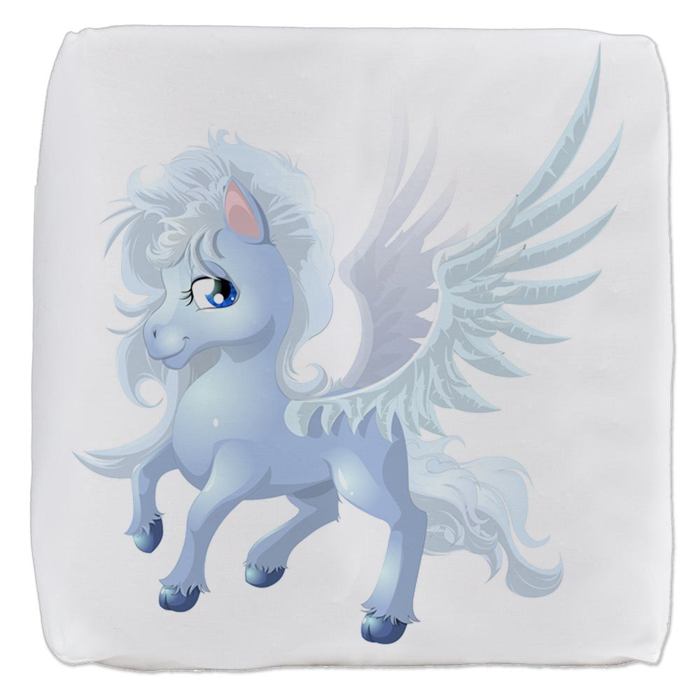 18 Inch 6-Sided Cube Ottoman Cartoon White Winged Pegasus