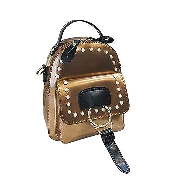 Xiuy Brillante Mochilas Escolares Fashion Pequeña Mochilas Color sólido Mochilas Tipo Casual Salvaje Viajes Bolsas Impermeable Cuero Backpack para Mujeres: ...