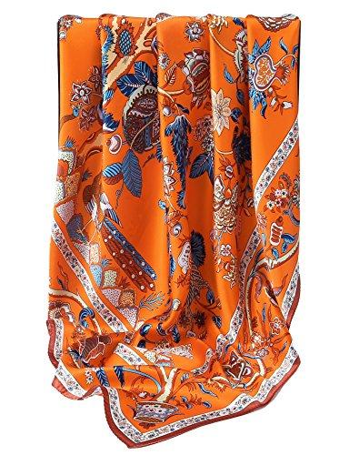 Grace Scarves 100% Silk Scarf, Extra-Large, Beanstalk, Orange