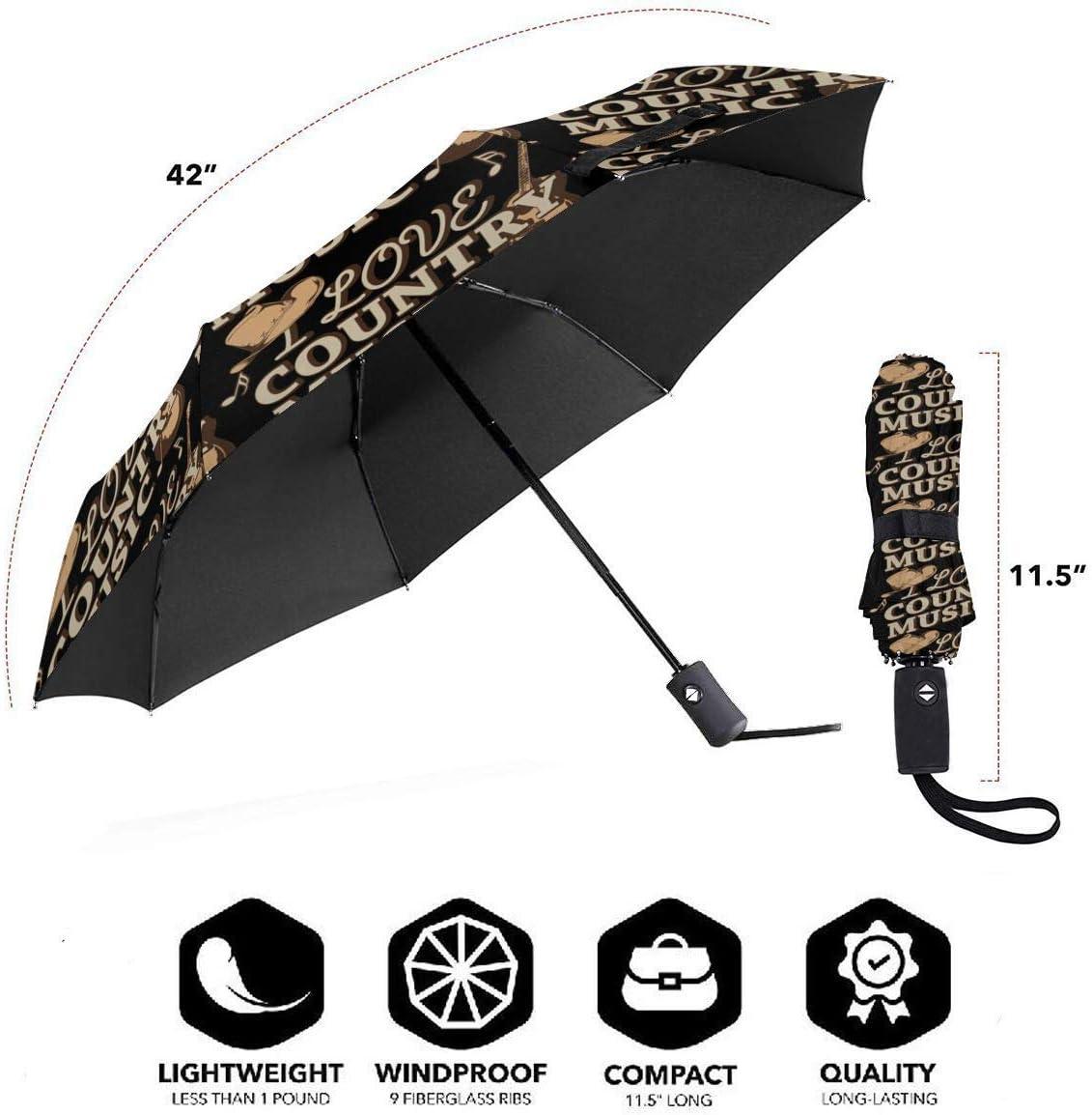 Peace Love World Automatic Folding Umbrella Sunshade Tri-fold Rain Umbrella