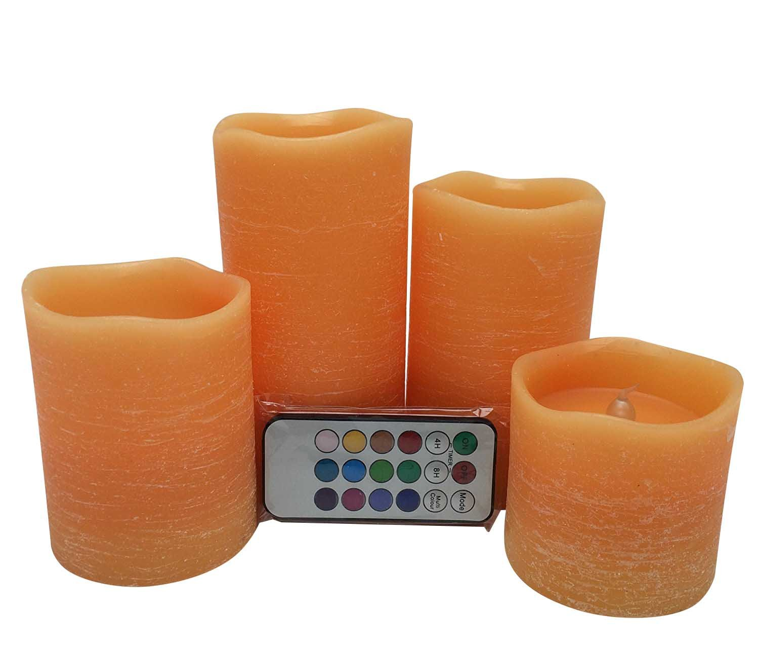 Adoria Orange Flameless Led Candle Set of 4, Real Wax Rustic Battery Candle Light-Lime Scent-Tall3/4/5/6inch by Adoria