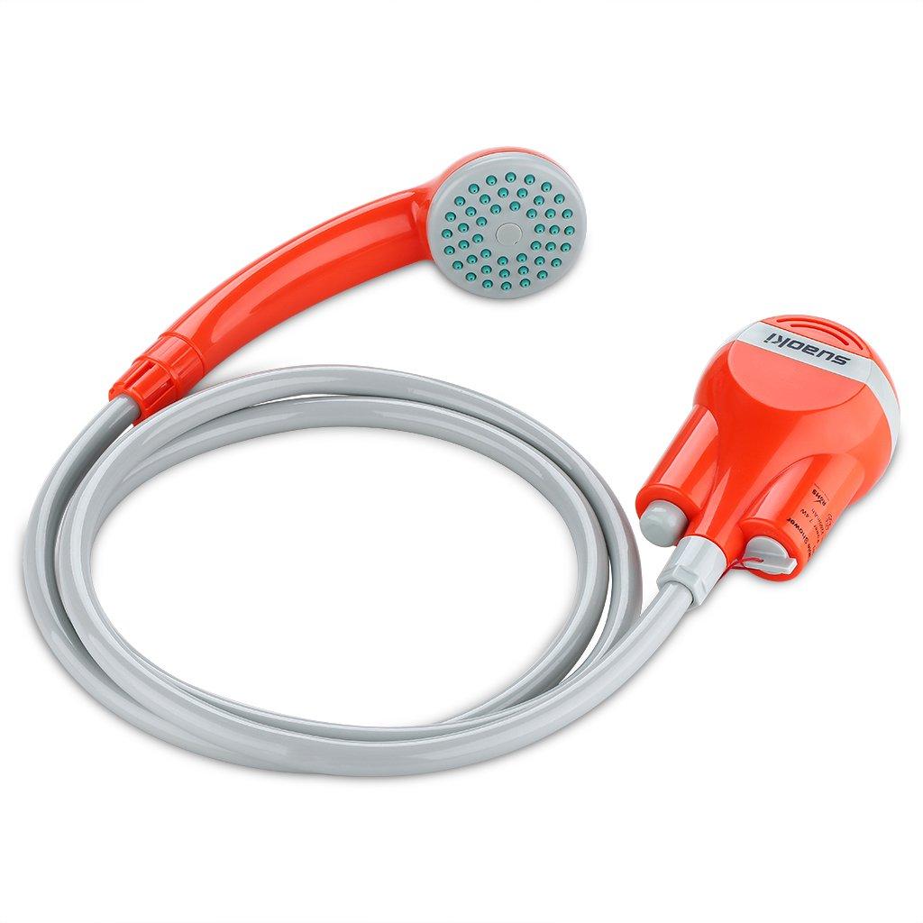 Suaoki - Bomba de Agua Portatil 2200mAh Recargable con Alcachofa de Ducha Rociadora (1.8m manguera, sistema filtracion, USB cable de carga, para acampada, limpieza al aire libre) (2200mAh) 170769502-01