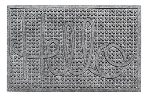 A1 Home Collections First Impression Hello Eco-Poly Entrance Mats with Anti Slip, Fabric Finish and Tire Crumb Backing, 24