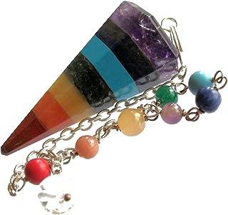 Pendolino di Cristalli 7 chakra, Pendolo per Radioestesia, Divinazione e cristalloterapia