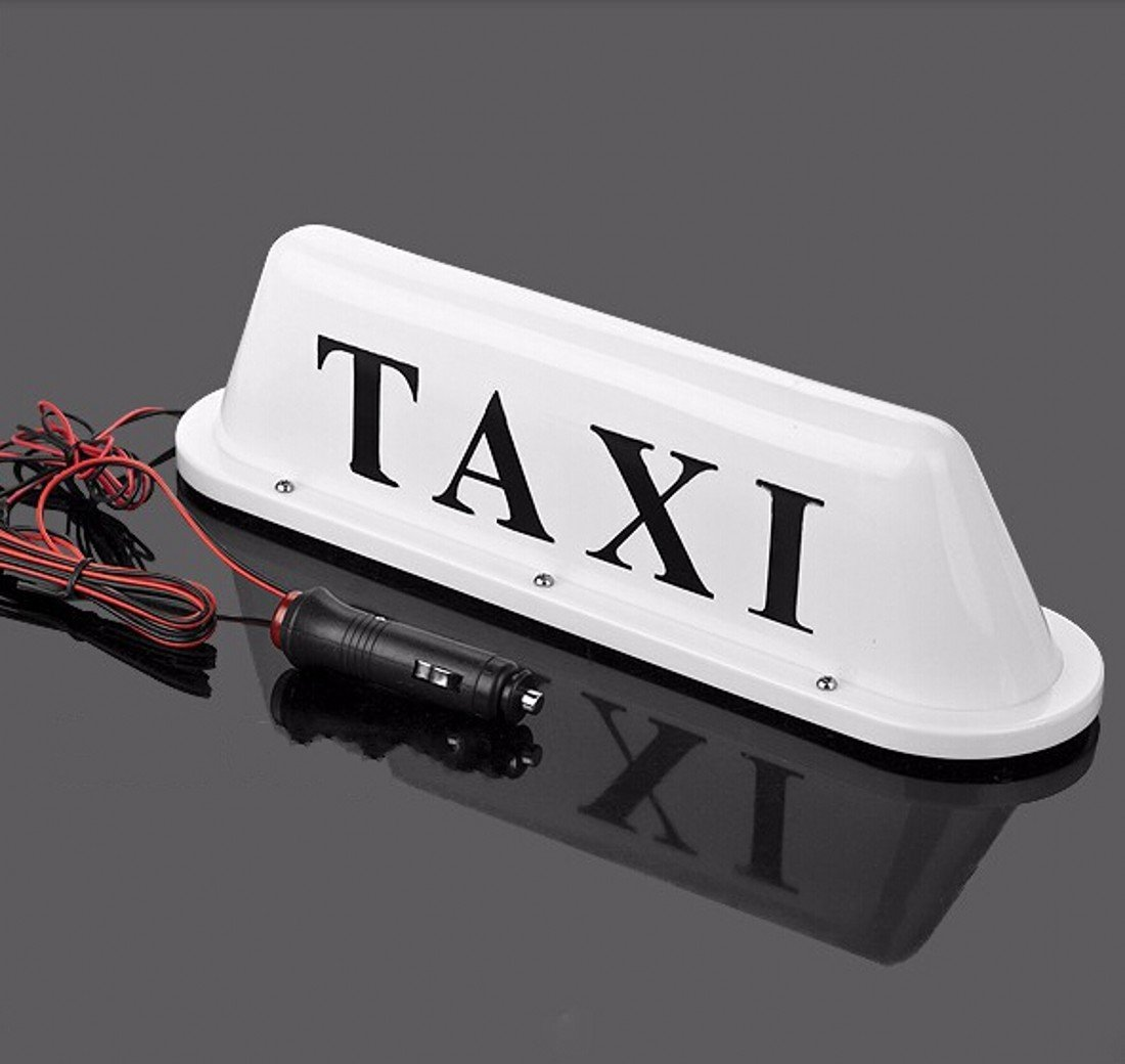 WellieSTR Large Size White Taxi Cab Roof Top Illuminated Sign Topper Car 12V Super Bright Light Magnetic Waterproof Sealed Base 14 3/8'' x 4'' x 4'' with 39.4'' Cable Length