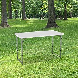 Table Pliante 120 cm d'Appoint Rectangulaire Blanche – Table de Camping 6 personnes L120 x l60 x H74cm en HDPE Haute…