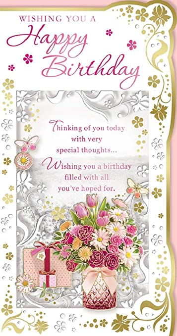 Open Female Birthday Card Bright Flowers inside Envelope with Foil 7.75x5.25/""