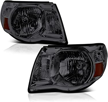 black BRYGHT For 2005-2011 Toyota Tacoma Headlight Assembly Direct Replacement Black Housing Headlamp Pair Passenger and Driver Side
