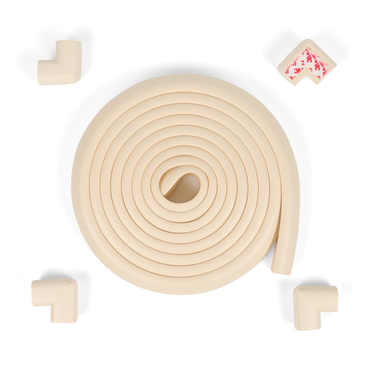 Table Edge Hearth Protector Fireplace Bumpers for Baby 16.2 ft(15 ft Edge + 4 Corners) Home School Furniture Safety Bumper(Cream)