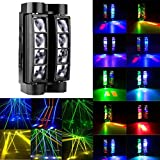 9Fshine Moving Spider Stage Light, 8X10 RGB Auto / Voice / DMX512 Moving Head LED Led Laser 4 in 1 Control Modes Beam Light, for Halloween Christmas Festival DJ Disco Party